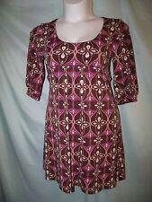 City Triangles Multi-Color Geometric 3/4 Sleeve Polyester Sheath Dress Size M