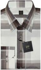 NEW STUNNING IKE BEHAR WHITE & BROWN TONES PLAID MENS CASUAL DRESS SHIRT XL/XXL