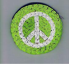 Peace Sign Vegan Coin Purse Round Zipper Glass Beaded Gift Circle