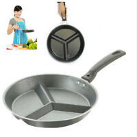 3 Section Frying Pan Divider Multi Divided Non Stick Breakfast Skillet Cook
