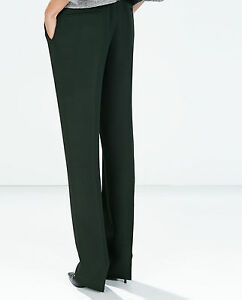 NWT Zara HUNTER GREEN Straight Trousers With Pockets And Waistband SZ SM S
