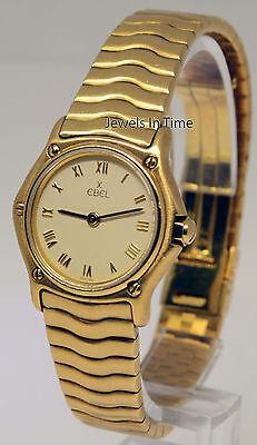 Ebel 1911 Classic Wave 18k Gold Watch Sportwave Bracelet Quartz