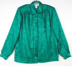 Vintage 80s Impressions California Green Secretary Blouse L 12 Pleated Embossed