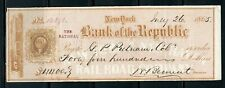US THE NATIONAL BANK OF THE REPUBLIC, N.Y. CANCELLED CHECK 7/26/1865 W/ STAMP