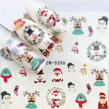 Nail Art Water Decals Stickers Christmas Santa Snowman Reindeer Wreath (3206)