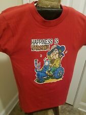 Vintage 1980s Screen Stars Happiness is Farming Iron On T Shirt Tractor