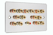 Polished Chrome 7.1 Surround Sound Speaker Wall Face Plate NO SOLDERING REQUIRED