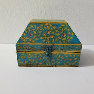 Folk Art Box Casket Shape Hand Painted Solid Wood Treasure Trinket Decor 6x4x5