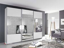 Kleiderschrank Schwebetürenschrank 270cm Breit Weiß mit Spiegel + Schubeinsatz