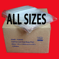 GRIP SEAL Bags Self Resealable Poly Plastic Clear Plain Bags ALL SIZES Free P&P