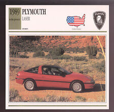 1989-1993 Plymouth Laser RS Hatchback Car Photo Spec Sheet CARD 1990 1991 1992