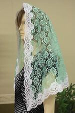 Light Green veils and mantilla Catholic church chapel lace headcovering Mass R