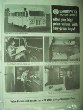 ✪altes original Prospekt Champion Motor Home sales Brochure von 1973 in englisch