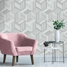 Hudson Geometric Wallpaper 3D Effect Grey / Silver 9792 Belgravia Decor