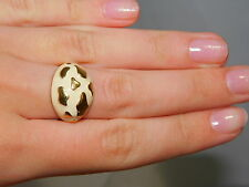 Vintage Gold Plated Off White Ivory Enamel Animal Print Dome size 6 Ring 5g 16