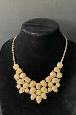 Gold tone chain with faceted caramel rhinestone bib statement necklace