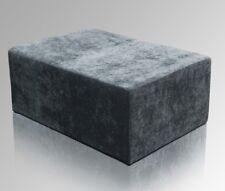 Amaris Elements | Sofa Hocker Bank Samt Stoff blau grau Pouf eckig 100x70xH45cm
