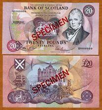 SPECIMEN Scotland, 20 pounds, 1992 , P-118s, UNC > Scarce