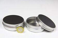 ROUND METAL TIN Small, Screw Lid, Silver, Empty - 60ml. 70mm Diam. x 25mm High