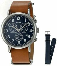 """Timex TWG012800, """"Weekender"""" Watch, Chronograph, Indiglo, Date, Leather & Nylon"""