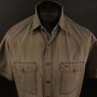 Camel Active Mens Outdoor Shirt XL Short Sleeve Brown Modern Fit Check Cotton