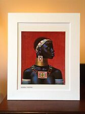 ORIGINAL RARE Tretchikoff Ndebele Woman 1960s - Vintage Kitsch Mounted Art Print