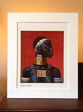 ORIGINAL RARE Tretchikoff Ndebele Woman 1960s - Vintage Kitsch Mounted Art Print