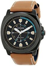BRAND NEW CITIZEN BJ6475-00E ECO-DRIVE BLACK DIAL BROWN LEATHER MEN'S WATCH