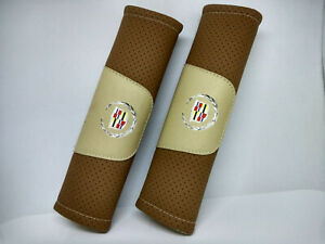 Pair Car Seat Belt Pads Shoulder Strap Cushion Covers For Cadillac Brown