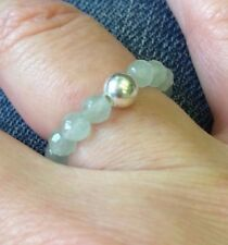 GREEN CHALCEDONY STERLING SILVER STRETCH RING STACKING BEAD BIRTHSTONE CHAKRA