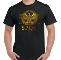 SPQR T-Shirt Mens Gym Training TopRoman Empire Standard Gladiator Eagle MMA