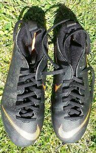 UK. SIZE 3 BOYS NIKE MERCURIAL BLACK & ORANGE FOOTBALL CUFF  PIMPLE BOOTS
