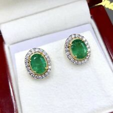 VIVID! 2.57TCW Emerald Diamonds 18K solid Yellow gold Earrings natural gift Stud