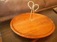 """MCM Wood Platter Metal Handle Ozark Treasures Vintage Serving Tray Cheese ap 12"""""""