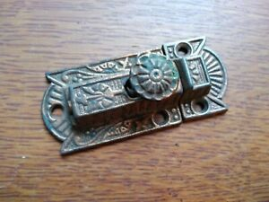 Antique Ornate Large Fancy Victorian Iron Cabinet Latch c1885 - Copper Plated