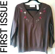 FIRST ISSUE EMBROIDERED CARDIGAN - BROWN Size: XLarge