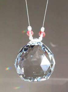 2 CRYSTAL Sun Catchers Baby Gift Favor Decor & Added Smaller Pink Blue Crystals