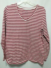 Laura Scott Signature Fit Women's Shirt Size Large Striped Red White