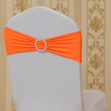 50 x Spandex Stretch Chair Sash Band Wedding Party Cover Cloth Buckle Bow Slider