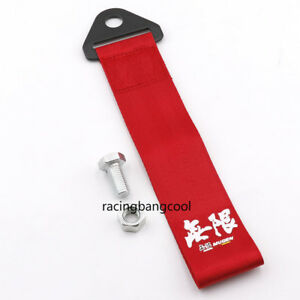 Racing Mugen High Strength Red Nylon Trailer Tow Ropes JDM Strap Tow for Car