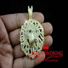 14k Gold Over Genuine Sterling Silver Lab Diamond Lion Face Custom Pendant Charm