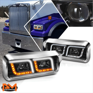 For 81-19 Kenworth W900/Western Star 4800 LED DRL Projector Headlight/Lamp Black