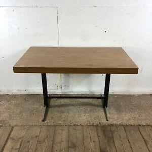 Vintage Wood Laminate Desk Table with Metal Legs