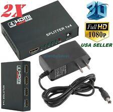2x Full HD HDMI Splitter 1X4 4 Port Hub Amplifier Repeater v1.4 3D 1080p 4in1