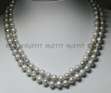 2 rows genuine 8-9mm south sea silver gray pearl necklace 17-18''