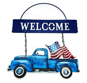 USA Truck Hanging Metal WELCOME DOOR SIGN Flag America 4th July Rustic Farmhouse