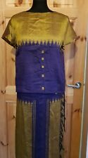 Silk 2 piece suit skirt & top Size S handmade. Wrap skirt purple & olive green