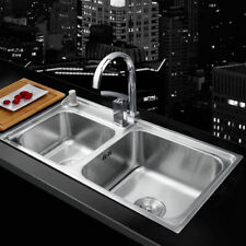 Stainless Steel Kitchen Double Sink Vessel Set Faucet Under Mount Washing Vanity