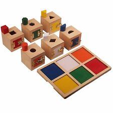 New Montessori Material- Peekaboo Lock Boxes and Objects with Tray