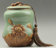 China hand made pottery and porcelain Lotus flower caddy NO.B621